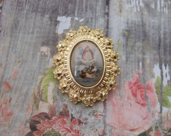 Caridad del Cobre OUR LADY of CHARITY vintage Brooch Lapel Pin with a lovely picture of the Virgin Mary