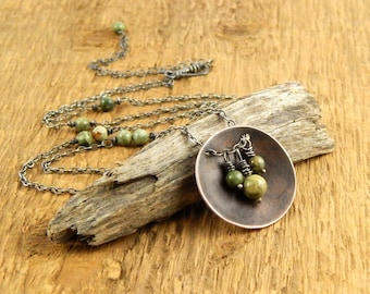 Tree necklace, large reversible pendant, copper necklace with rainforest jasper, long necklace, ready to ship.