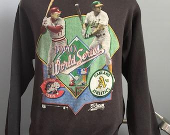 90s Vintage 1990 World Series Cincinnati Reds vs Oakland Athletics A's Jose Canseco Chris Sabo Salem mlb baseball Sweatshirt - LARGE