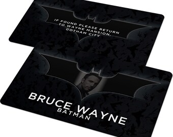 Custom ID Card Badge: Batman, Bruce Wayne, Begins, Dark Knight Rises, Gotham, Cosplay Costume, Christmas present or Birthday Gift