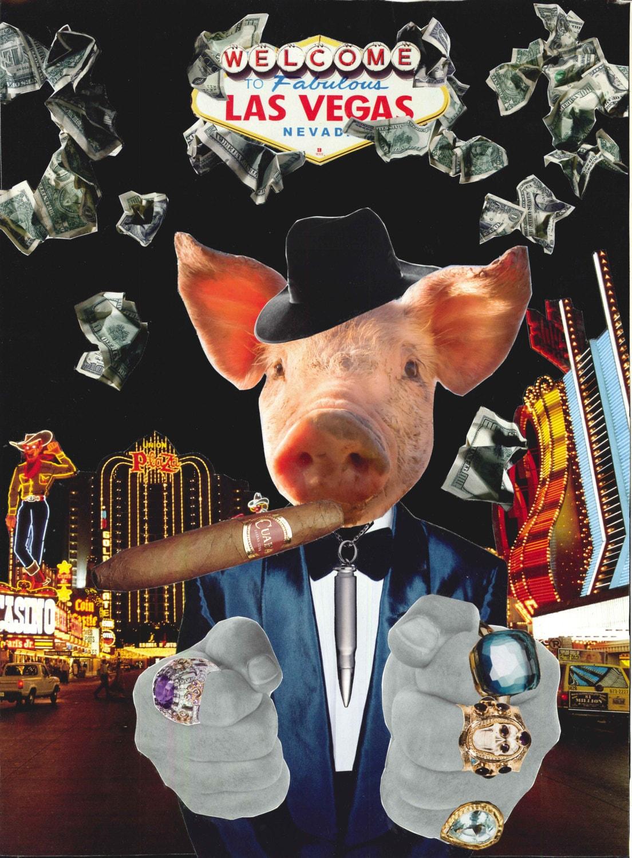 Las Vegas Pig art collage