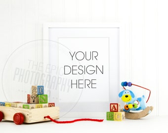 Styled Stock Photography / Empty Blank Frame / Product Photography / Staged Photography / Product Background / Kid Room Neutral Toys / KN004