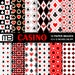Casino digital paper - printable papers - Instant download - 12x12 inches papers - for home printing - DIY