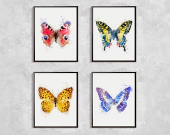 Butterfly Print, Set Butterfly watercolor, Butterfly Modern Artwork, Room Decor, Watercolor printable, Butterfly art, butterfly printable