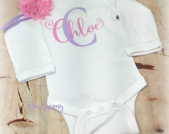 Personalized Onesie, Baby Shower Gift, New Baby Gift, Coming Home Outfit, Baby Girl Bodysuit, Baby Girl Outfit