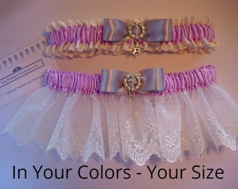 Wedding Garter Sets, Vintage Wedding Garters, Rhinestone Wedding Garters, Satin Garters, Lace Garters, Bridal Shower Gifts, EMBROIDERY ADDTL