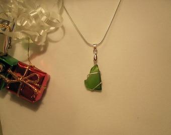 Medium Green Sea Glass Pendant