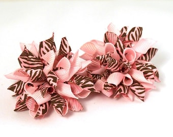 A Pair Light Pink And Brown Zebra Striped  Mini Korker Hair Bows