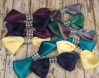 Mixed Lot Satin Bows, Rhinestone Bows, Wedding Craft, Scrapbook Bows, Invitation Bows, Shoe Clip Bows, Large Satin Bows, Hair Bows Craft DIY