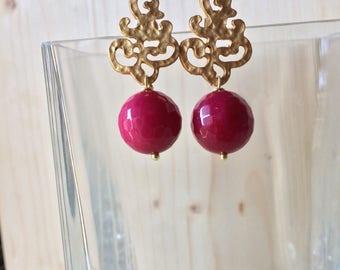 Fuchsia Dragon veins agate gemstone earrings