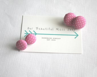 SALE || Pink With Dots Fabric Button Earrings
