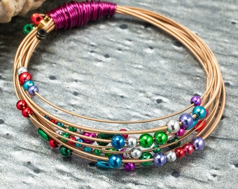 Guitar String Bracelet, Handmade Jewelry, Gold, Rainbow, Recycled Beaded Wire Wrapped Bangle, Unique Musician Gift for Her, One of a Kind