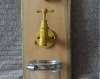 Mounted Yellow Spout and Handle with mason jar