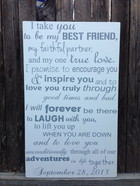 Wedding Readings For Friends: I Take You To Be My Best Friend Wedding Vows Wood Sign Custom