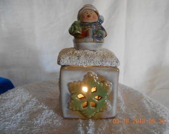 Snowman Lidded Candy Jar/ Candle Holder