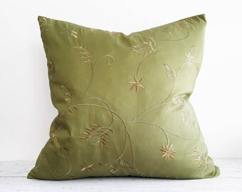 Solid Green Pillow Cover, Green Decorative Pillow, Green Sofa Pillows, Green Throw Pillows 20x20, Embroidered Flowers, 12x20 Lumbar Pillows