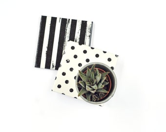 Stripes and Dots Coasters Re-Purposed Ceramic Tile Drink Coasters Black and White Geometric Minimal Modern