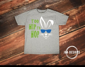 Boy Easter PNG- Bunny Shirt- Too Hip To Hop- Easter