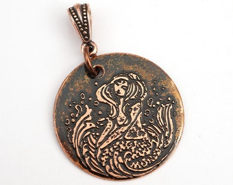 Etched copper mermaid pendant, round flat copper etched jewelry, 28mm