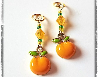 Hearing Aid Charms: Juicy Summer Gold Plated Enamel Oranges with Glass Accent Beads!