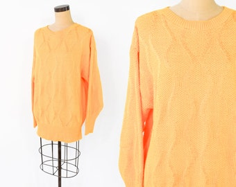 80s Oversized Sweater | 80s Canary Yellow Cotton Knit Sweater | Large