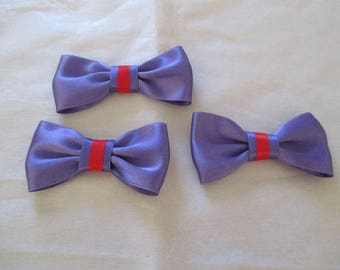 1 set of 3 bows in purple satin with strips