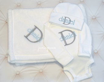 Baby Boy Coming Home Outfit Baby Boy Clothes Newborn Boy Coming Home Outfit Newborn Boy Outfit Baby Boy Gift Baby Boy Blanket Newborn hat