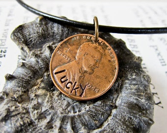 Lucky Penny On Leather Cord Necklace - Hand Stamped Gift For Him Or Her - Authentic American Copper Penny