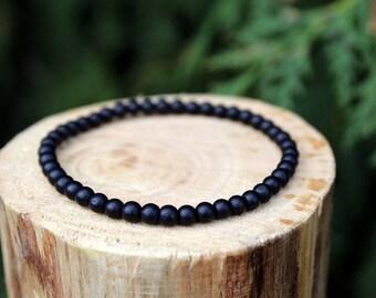 Matte Black Stone Bracelet, Black Stone Bracelet, Stone Bracelet, Yoga Bracelet, Gemstone Bracelet, Beaded Bracelet, Men's/Women's Bracelet