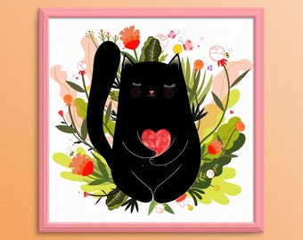 Giclee Art print,New kitty print,square print, decorative Art print, beautiful Art, plants print, cat Art, kitty Art, Cat giclee print,