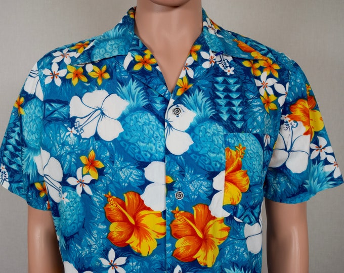 Vintage 1950's 60's Men's Elvis Blue Hawaii Royal Hawaiian Loop Collar Pineapple Hibiscus Surfer Shirt Size XL 48
