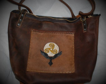 Celtic Raven Triskelion Leather Tote Purse Book Bag