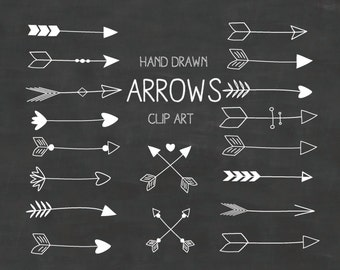 White Hand Drawn Arrows Clipart (A set of 18) - chalkboard arrows clipart