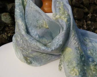 Handmade, hand dyed, Nuno felt scarf made with merino wool and silk. Summer scarf. Soft silky and warm. Grey and yellow.