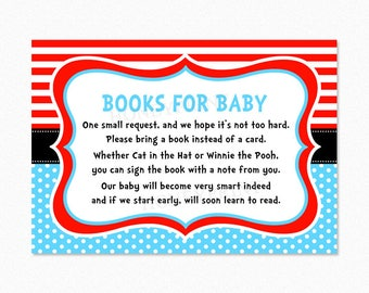 Dr Suess Baby Shower Book Request Cards, Red, Blue, Printable PDF