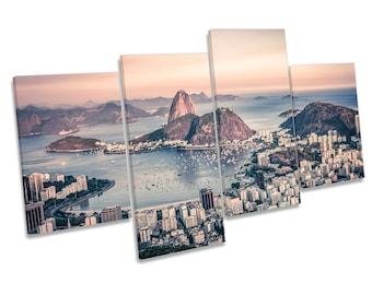 Rio de Janeiro City Brazil Multi CANVAS WALL ART Picture Print