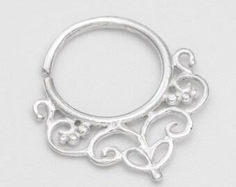 Silver Septum Ring for pierced nose. tribal septum ring. septum piercing.