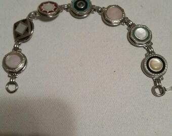 CUFFLINK BUTTON Bracelet ANTIQUE Colorful 1920s Pearl Celluloid  Sale usually 120 Mens Cast Offs  Art Deco Wearable Pieces of Art