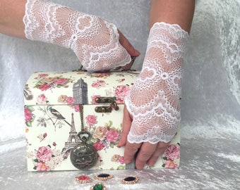 Fingerless  gloves   offwhite  of stretch lace