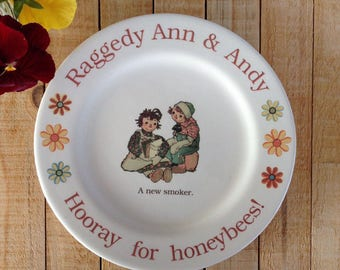 Raggedy Ann plate, honey bee plate, 1950's children's book, Raggedy Ann and Andy, Beekeeper Plate, Bee plate, Sandwich plate, Save the bees