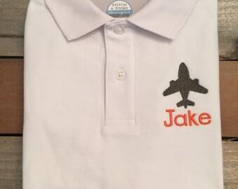 Boy polo shirt, airplane polo shirt, airplane with name polo shirt, placket shirt with airplane, polo shirt, SSD-48