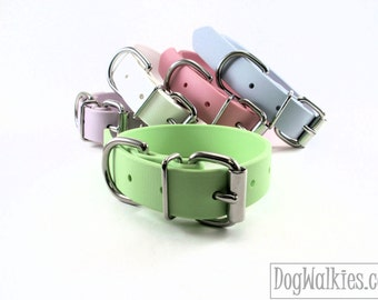 """Biothane Dog Collar / Mint Pastel Green 1"""" Wide / Leather Look and Feel / Adjustable / Pastel / Waterproof / 25mm Wide"""