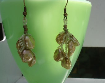 Golden Summer Snowflakes Beadwoven Earrings, price reduced from 23 to 18
