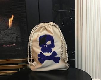 Pirate Booty Bag, Zero Waste Gift Bag, Skull and Crossbones Bag, Trick or Treat Bag, Fabric Gift Bag, Drawstring Bag, 10x12, Halloween Bag