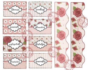 Nostalgic Pink Rose Junk Journal Cards and Add ons...