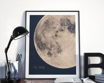 Full moon poster Giant moon print Astronomy wall art Dorm wall art Modern wall art Blue and beige