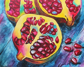Pomegranate painting Oil painting Pomegranate art Pomegranates Food painting Pomegranate wall art Fruit painting Pomegranate decor