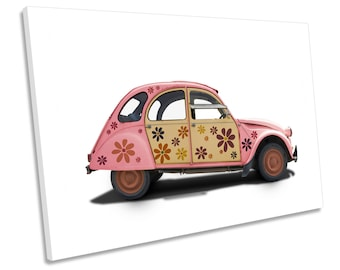Pink Hippy Car CANVAS WALL ART Picture Print Box Framed