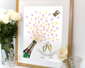 Champagne Celebration Fingerprint Artwork