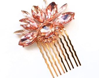 Comb - Blush Pink Crystal Hair Comb in Gold - Vintage Style Hair Piece - Pale Pink Bridal Comb - Wedding Hair - Flower Rhinestone Brooch